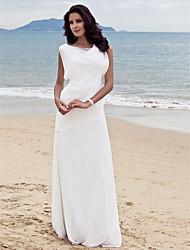 cheap -Sheath / Column Wedding Dresses Bateau Neck Floor Length Chiffon Cap Sleeve Formal Casual Little White Dress with Side-Draped 2021