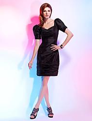 cheap -Sheath / Column Little Black Dress Cocktail Party Dress V Neck Short Sleeve Knee Length Taffeta with Ruched 2021