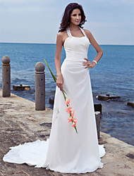 cheap -Sheath / Column Wedding Dresses Halter Neck Court Train Chiffon Regular Straps Beach Backless with Appliques 2021