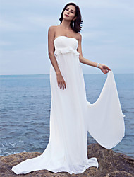 cheap -Sheath / Column Wedding Dresses Sweetheart Neckline Strapless Court Train Chiffon Sleeveless with 2021