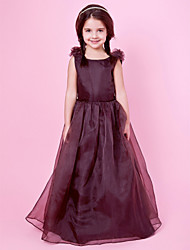 cheap -Princess / A-Line Floor Length Wedding Party Organza / Satin Sleeveless Jewel Neck with Bow(s) / Draping / Flower / Spring / Fall / Winter
