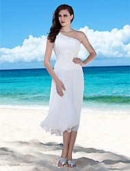 cheap -Sheath / Column Wedding Dresses One Shoulder Tea Length Chiffon Regular Straps Casual Beach Plus Size with Bowknot Sash / Ribbon Ruched 2021