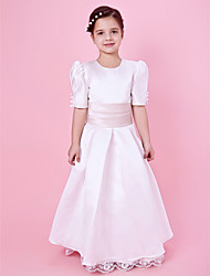 cheap -Princess / A-Line Floor Length First Communion / Wedding Party Lace / Satin Short Sleeve Jewel Neck with Lace / Sash / Ribbon / Buttons / Spring / Fall / Winter