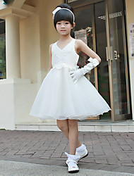 cheap -Princess / Ball Gown Knee Length First Communion / Wedding Party Cotton / Polyester Sleeveless V Neck with Beading / Embroidery / Spring / Summer / Fall