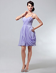 cheap -Sheath / Column All Celebrity Styles Inspired by Taylor Swift Homecoming Cocktail Party Dress Sweetheart Neckline Spaghetti Strap Sleeveless Short / Mini Chiffon with Criss Cross Side Draping 2021