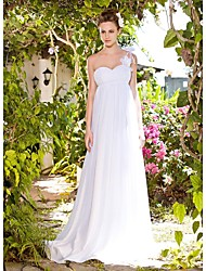 cheap -Sheath / Column Wedding Dresses One Shoulder Sweetheart Neckline Sweep / Brush Train Floor Length Chiffon Sleeveless with 2021