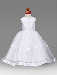 cheap -A-Line / Princess Floor Length Flower Girl Dress - Organza / Taffeta Sleeveless Jewel Neck with Beading / Appliques / Draping