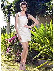 cheap -Sheath / Column Wedding Dresses One Shoulder Short / Mini Satin Sleeveless Little White Dress with 2021