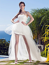 cheap -Ball Gown Strapless Asymmetrical Tulle Strapless Casual / Beach Little White Dress / Plus Size Wedding Dresses with Appliques 2020