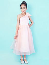 cheap -Princess / A-Line One Shoulder Tea Length Lace / Organza Junior Bridesmaid Dress with Lace / Bow(s) / Spring / Summer / Fall / Apple / Hourglass