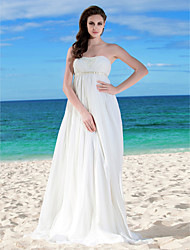 cheap -A-Line Wedding Dresses Strapless Floor Length Chiffon Sleeveless with Sash / Ribbon Ruched Beading 2021
