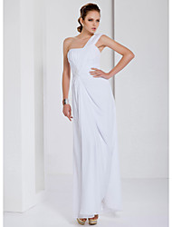 cheap -Sheath / Column Open Back Prom Formal Evening Military Ball Dress One Shoulder Sleeveless Floor Length Chiffon with Beading Draping Appliques 2021