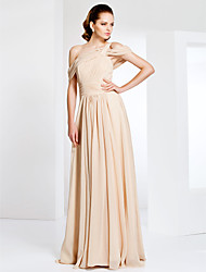 cheap -Sheath / Column Elegant Formal Evening Military Ball Dress One Shoulder Off Shoulder Short Sleeve Floor Length Chiffon with Ruched Draping Side Draping 2020
