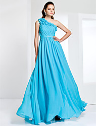 cheap -Ball Gown Floral Prom Formal Evening Military Ball Dress One Shoulder Sleeveless Floor Length Chiffon with Sash / Ribbon Side Draping Crystal Brooch 2021