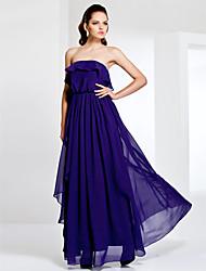 cheap -Strapless Sheath/Column Floor-length Chiffon Evening Dress