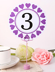 cheap -Place Cards and Holders Round Table Number Card - Purple Hearts
