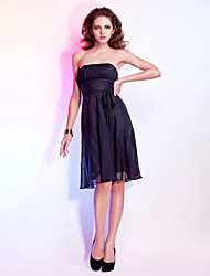 cheap -Ball Gown Holiday Homecoming Cocktail Party Dress Strapless Sleeveless Knee Length Chiffon with Sash / Ribbon Draping 2021