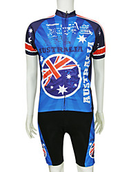 cheap -Malciklo Men's Short Sleeve Cycling Jersey with Bib Shorts Polyester Blue Australia National Flag Bike Clothing Suit Mountain Bike MTB Road Bike Cycling Breathable Quick Dry Sports Clothing Apparel