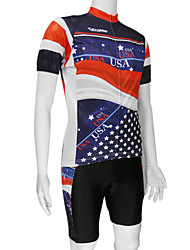cheap -Malciklo Men's Short Sleeve Cycling Jersey with Shorts Red+Black American / USA National Flag Bike Clothing Suit Mountain Bike MTB Road Bike Cycling Breathable Quick Dry Sports Polyester Clothing