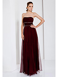 cheap -Sheath / Column Open Back Formal Evening Military Ball Dress Strapless Sleeveless Floor Length Chiffon with Ruched Beading Draping 2020