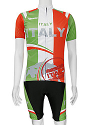 cheap -Malciklo Men's Short Sleeve Cycling Jersey with Bib Shorts Red / Green Italy National Flag Bike Clothing Suit Mountain Bike MTB Road Bike Cycling Breathable Quick Dry Sports Polyester Clothing Apparel