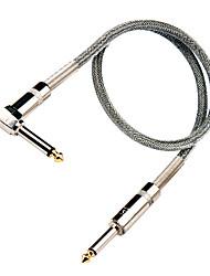Недорогие -серебряный нейлон гитарный кабель с металлической прямоугольной подключить 6 метров