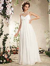 cheap -Sheath / Column Wedding Dresses V Neck Floor Length Chiffon Spaghetti Strap Simple Casual Plus Size with Beading Draping Side-Draped 2021