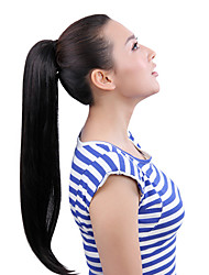 "cheap -22"" Silky Straight Black Synthetic Hair Ribbon Drawstring Ponytail Pieces Extension"