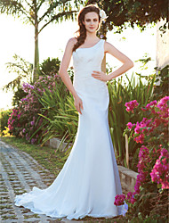 cheap -Mermaid / Trumpet Wedding Dresses One Shoulder Court Train Chiffon Sleeveless with 2020