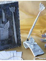 cheap -Butterfly Themed Wedding Pen Set In White Resin