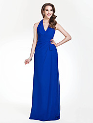 cheap -Sheath / Column Halter Neck / V Neck Floor Length Chiffon Bridesmaid Dress with Side Draping / Open Back