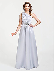 cheap -A-Line / Princess One Shoulder Floor Length Satin Bridesmaid Dress with Beading / Side Draping by LAN TING BRIDE®