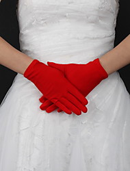 cheap -Silk / Polyester Wrist Length Glove Classical / Bridal Gloves With Solid