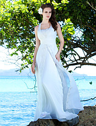 cheap -Sheath / Column Wedding Dresses Straps Sweep / Brush Train Chiffon Sleeveless with 2021