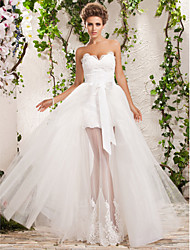 cheap -A-Line Sweetheart Neckline Floor Length Tulle Strapless Floral Lace Made-To-Measure Wedding Dresses with Appliques 2020