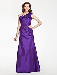 cheap -Floor-length Taffeta Bridesmaid Dress - Regency Plus Sizes / Petite A-line / Princess One Shoulder