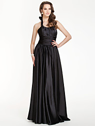 cheap -Sheath / Column Halter Floor Length Stretch Satin Bridesmaid Dress with Bow(s) Draping Ruched by