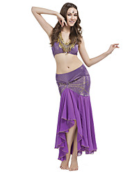 cheap -Belly Dance Outfits Women's Training Crystal Cotton Beading Sleeveless Dropped / Performance