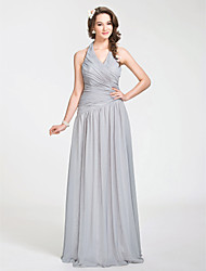 cheap -Princess / A-Line Halter Neck Floor Length Chiffon Bridesmaid Dress with Criss Cross / Draping / Side Draping