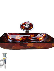 cheap -Bathroom Mounting Ring / Kitchen Water Drain Contemporary - Tempered Glass Rectangular Vessel Sink