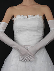 cheap -Cotton / Satin Wrist Length / Opera Length Glove Charm / Stylish / Bridal Gloves With Embroidery / Solid