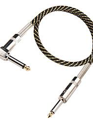 Недорогие -DT черный и золотой гитарный кабель нейлона с правого угла психического вилка