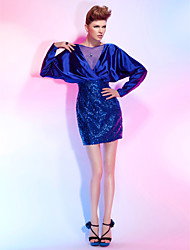 cheap -Sheath / Column Open Back Cocktail Party Dress Bateau Neck Long Sleeve Short / Mini Tulle Stretch Satin Sequined with Criss Cross Sequin 2021