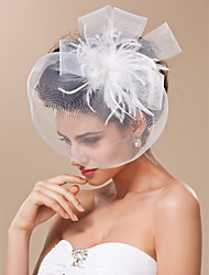 cheap -Cut Edge Blusher Veils / Headwear / Birdcage Veils with Feather / Floral 1pc Special Occasion / Horse Race Headpiece