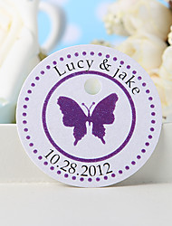 cheap -Personalized Favor Tag - Purple Butterfly (Set of 36) Wedding Favors