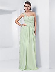 cheap -Sheath / Column Elegant Prom Formal Evening Dress One Shoulder Sleeveless Floor Length Chiffon with Appliques 2021