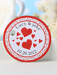 cheap -Personalized Favor Tag - Red Heart (Set of 36) Wedding Favors