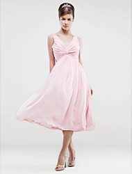 cheap -A-Line V Neck Tea Length Chiffon Bridesmaid Dress with Criss Cross / Pleats / Beading / Open Back