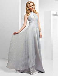 cheap -Ball Gown Beautiful Back Formal Evening Dress High Neck Sleeveless Floor Length Organza with Pleats Beading Split Front 2020