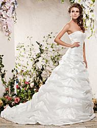 cheap -Princess A-Line Wedding Dresses Strapless Sweetheart Neckline Chapel Train Taffeta Sleeveless with 2020